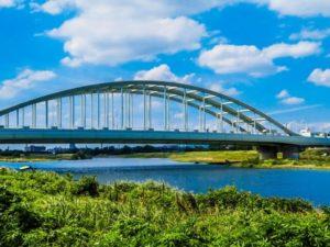 川崎市多摩区の多摩川橋梁
