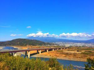 富士市の富士川の風景