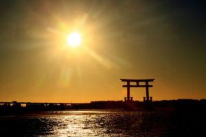 浜松市浜名湖の夕景