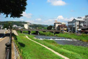 北上川と散歩道