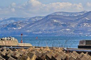 冬の石狩湾の風景